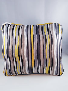 Black/Yellow/Grey Striped Comfee Cushion