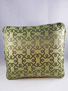 Avacado Green and Gray Patterned Comfee Cushion