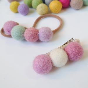 Beautiful Felt Ball Hair Clips