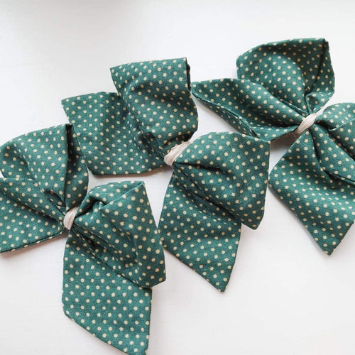 Hand Tied Teal Small Spot Pinwheel Bow