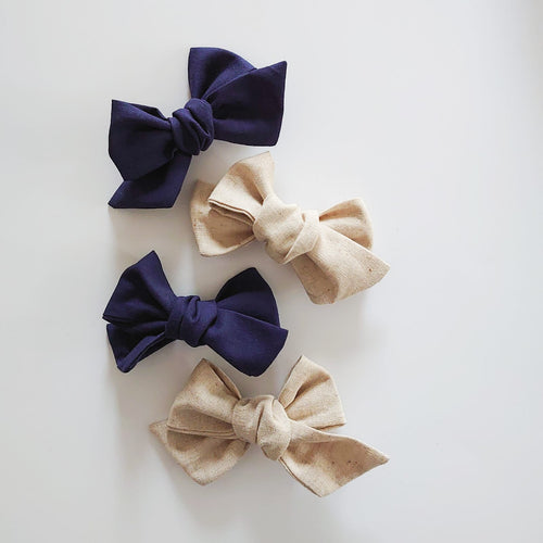 Over-sized Chunky Linen Hand Tied Bows
