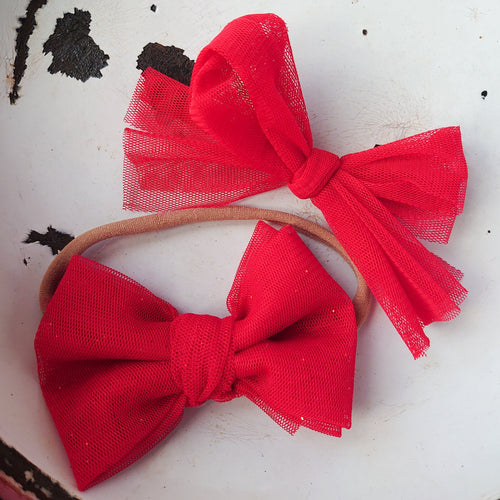 Red Tulle Fabric Bow