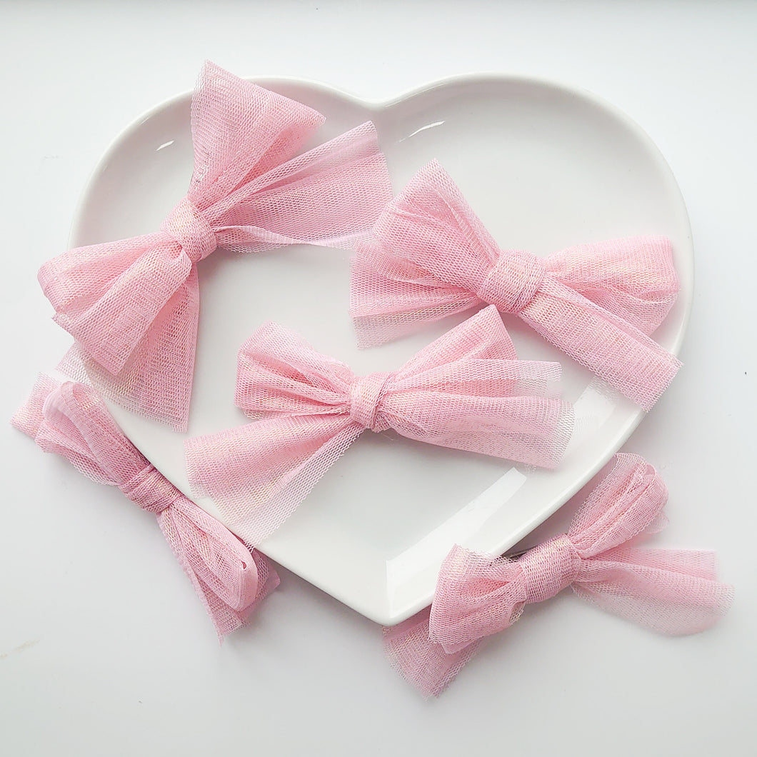 Gorgeous Limited Edition Shimmering Pink Tulle Bows