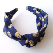 Load image into Gallery viewer, Limited edition: Metalic gold spot Mummy Knotted Headband available in navy or green
