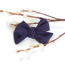Load image into Gallery viewer, NEW Chunky Navy Linen Bows