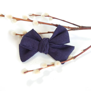NEW Chunky Navy Linen Bows