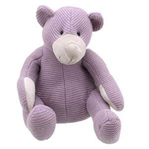 Large Knitted Purple Teddy by Wilberry