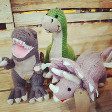 Load image into Gallery viewer, Knitted Triceratops Dinosaur by Wilberry