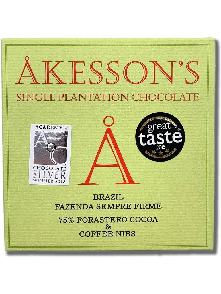 Akesson's Brazil 75% Dark Chocolate with Coffee Nibs - Chocolate Collective Canada