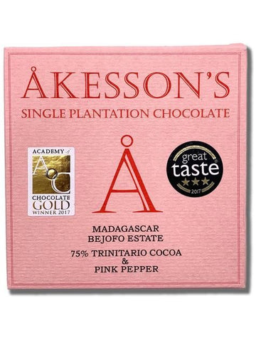 Akesson's Madagascar 75% Dark Chocolate with Pink Pepper (Organic) - Chocolate Collective Canada