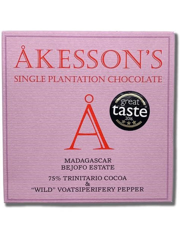 Akesson's Madagascar 75% Dark Chocolate with Wild Pepper (Organic) - Chocolate Collective Canada