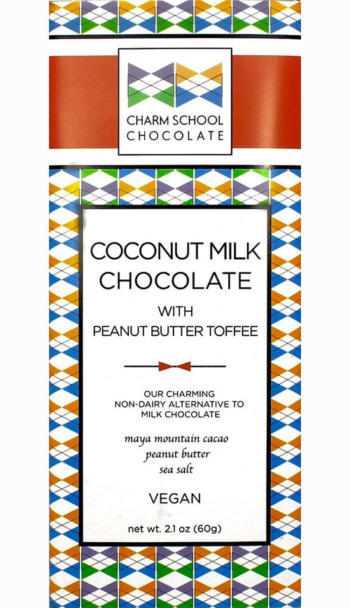Charm School 49% Coconut Milk Chocolate with peanut butter toffee (Vegan)