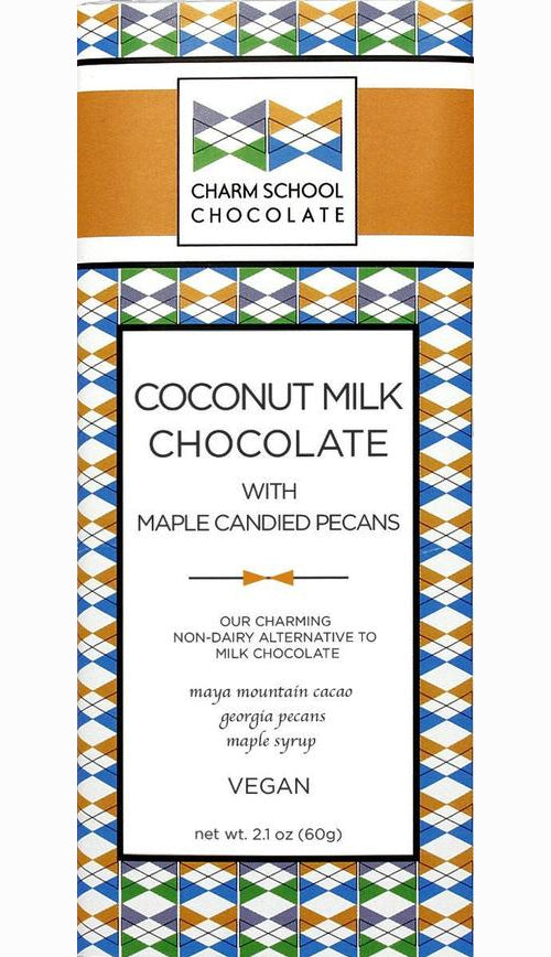 Charm School 49% Coconut Milk Chocolate with maple candied pecans (Organic) (Vegan)