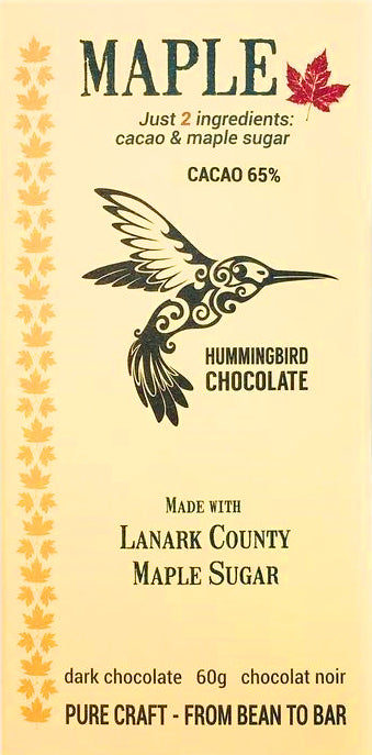 Hummingbird 65% Dark Chocolate with maple sugar (Organic) - Chocolate Collective Canada