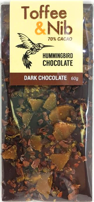 Hummingbird 70% Dark Chocolate with toffee & cocoa nibs - Chocolate Collective Canada