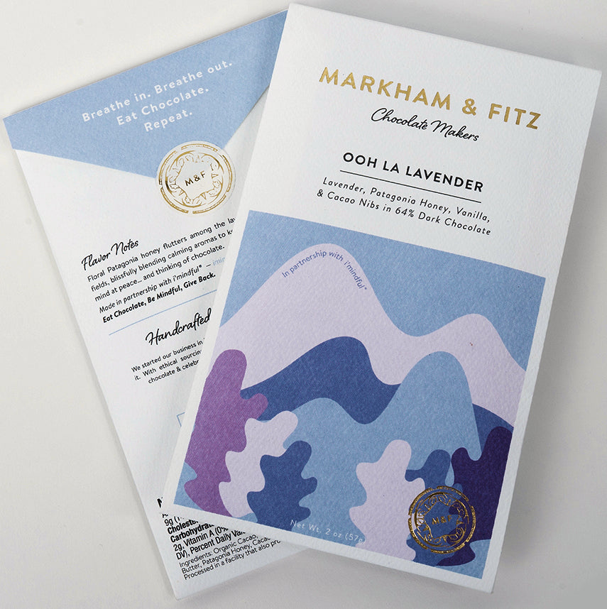 Markam & Fitz OKO Caribe 64% Dark Chocolate with lavender, Patagonia honey, vanilla & cocoa nibs - Chocolate Collective Canada