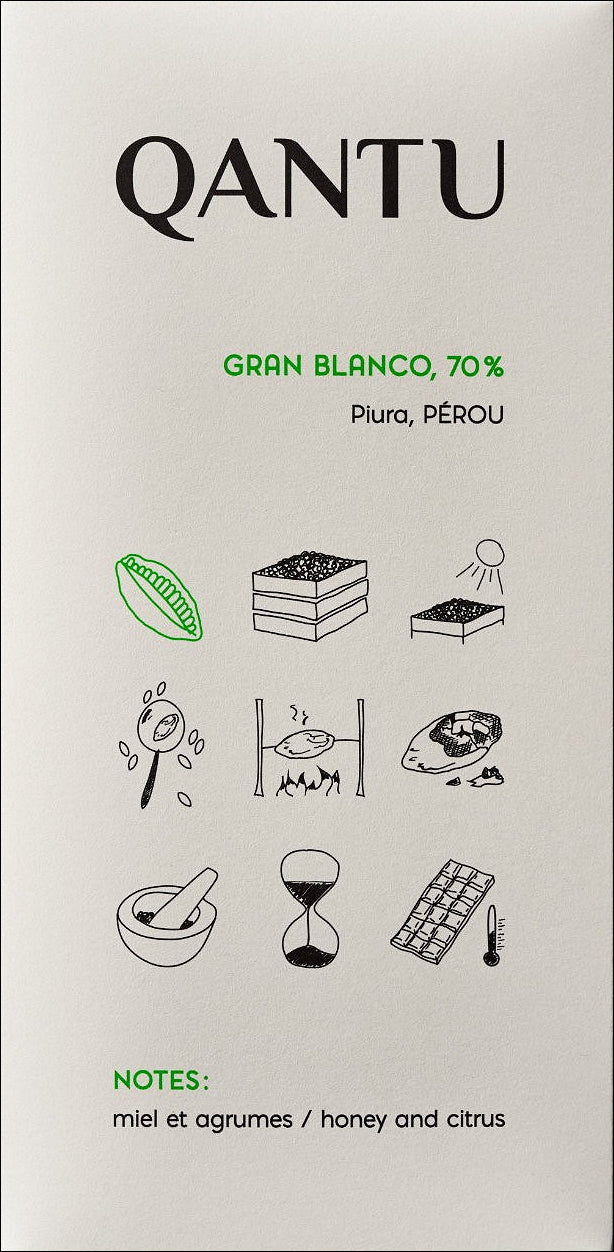 Qantu Gran Blanco, 70% Dark Chocolate - Chocolate Collective Canada