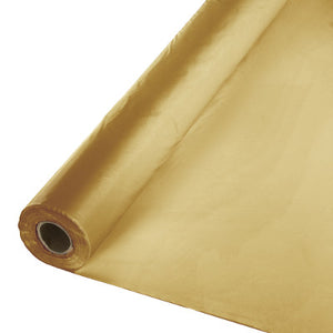 Glittering Gold Plastic Table Cover 100'
