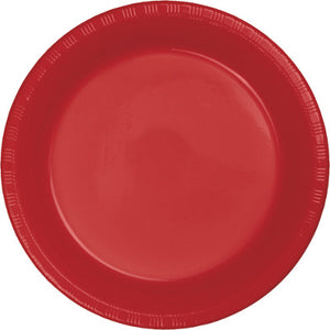 "Classic Red Plastic 10.25"" Dinner Plates"