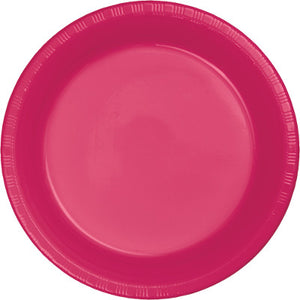"Hot Magenta Plastic 10.25"" Dinner Plates"