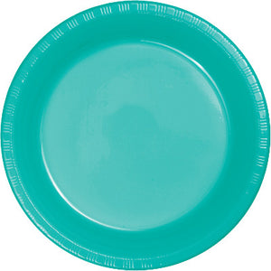 "Teal Plastic 10.25"" Dinner Plates"