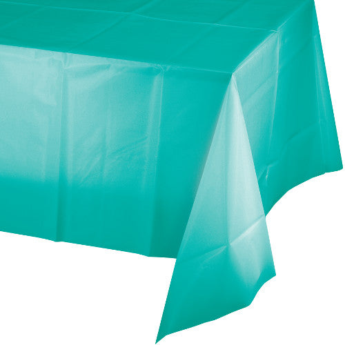 Teal Rectangular Plastic Table Cover