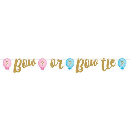Gender Reveal Balloons Ribbon Banner