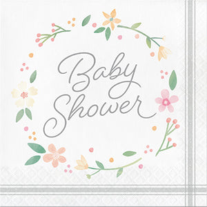 Farmhouse Floral Baby Shower Luncheon Napkins