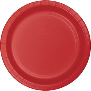 "Classic Red Paper 9"" Salad Plates"