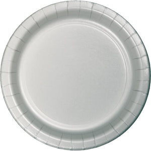 "Shimmering Silver Paper 10"" Dinner Plates"