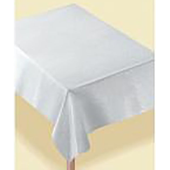 White/Silver Metallic Fabric Rectangular Table Cover