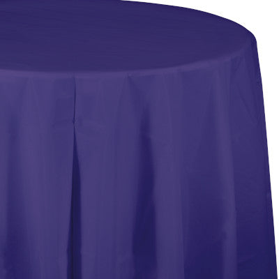 Purple Round Plastic Table Cover