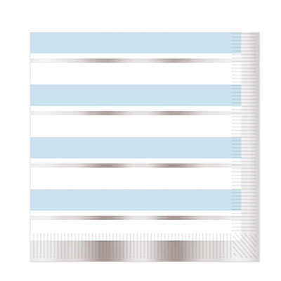 Blue & Silver Striped Napkin
