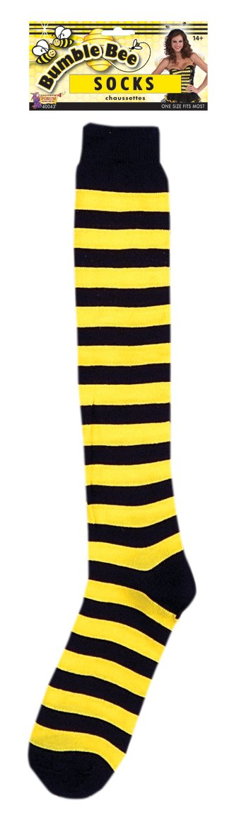 Knee high black and yellow striped knit socks