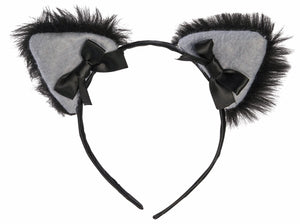 Furry cat ears with grey inside and bow