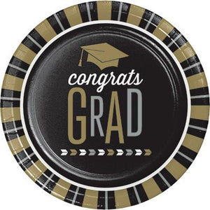 Black and Gold Grad Plates 9""