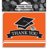Grad Cap Thank you Cards - Orange