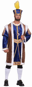 Blue, brown and gold king tunic and hat