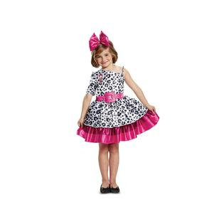 Pink, black and white dress, headpiece