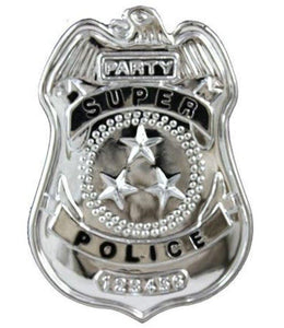 Silver police officer badge