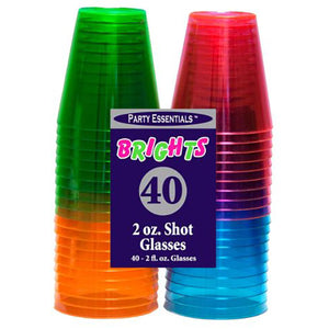2 oz. Shot Glasses - Assorted Neons 40 Ct.