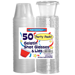 2.5oz. Shot Glasses and Lids - Clear 50ct.