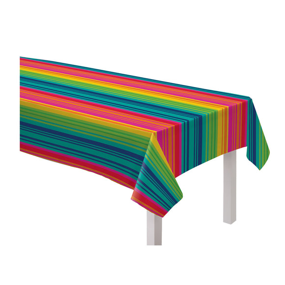 Serape Stripe Flannel-Backed Vinyl Table Cover