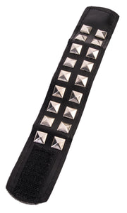 Faux leather studded wrist band with velcro