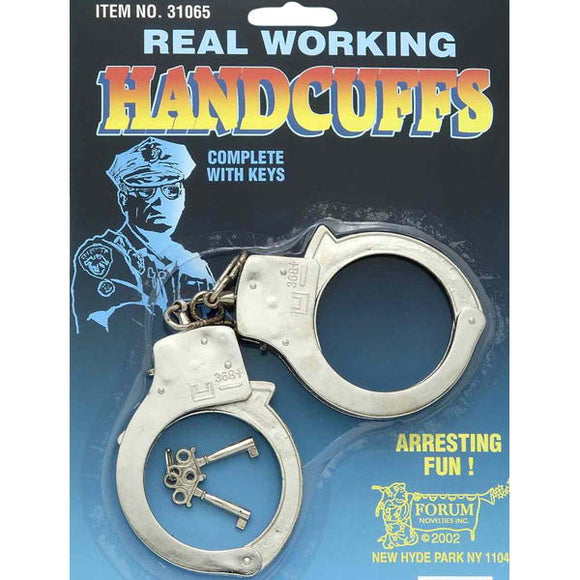 Silver handcuffs with keys