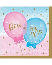 Gender Reveal Balloons Luncheon Napkins