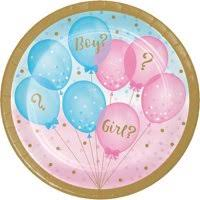 "Gender Reveal Balloons 7"" Cake Plates"