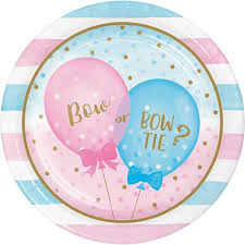 "Gender Reveal Balloons 9"" Salad Plates"