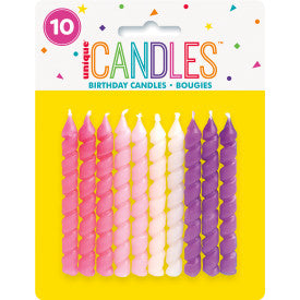 Birthday Candles Spiral Pink and Purple