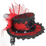 Mini hat with sequined, lace and netting
